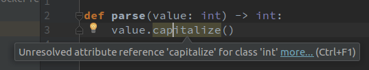 Python Type Hints enable IntelliJ PyCharm to show errors in case of invalid method invocations