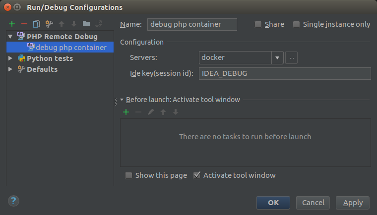 Create a Debug Configuration in IntelliJ IDEA Ultimate/PhpStorm of the type 'PHP Remote Debug' which connects to our PHP Docker container via Xdebug