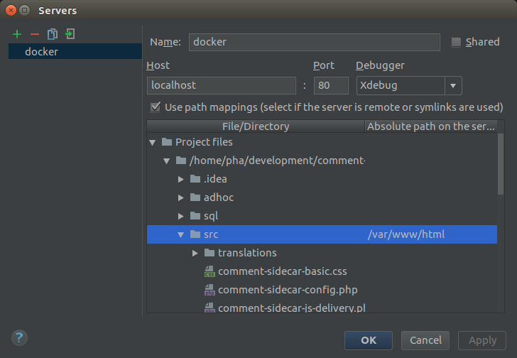Create a Server Configuration for the PHP Docker container, configure Xdebug as the debugger and the path mapping that fits the folder structure within the PHP container