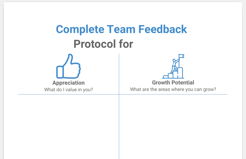 Template for the Protocol that is written during the Complete Peer Feedback session